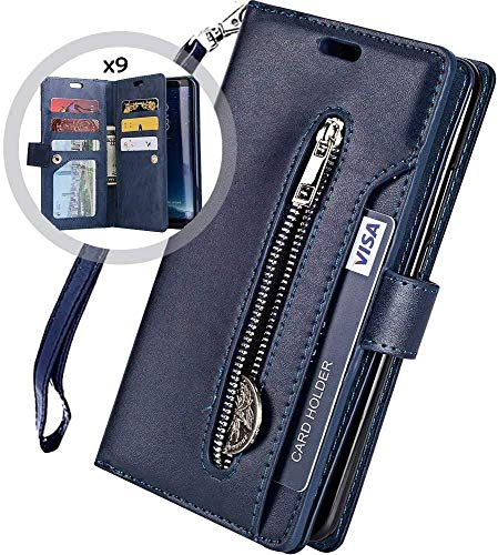 Kompatibel mit Samsung Galaxy Note 10 Plus Leder Hülle,URFEDA Handytasche Schutzhülle Tasche Case [ 9 Kartensteckplätze ] Reißverschluß Brieftasche Flip Ständer Magnetverschluss Klappehülle,Blau