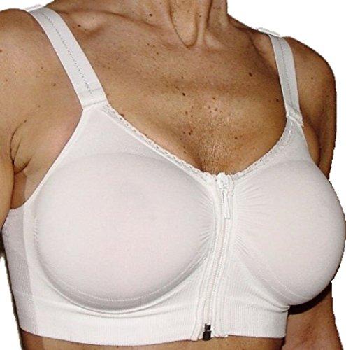 CzSalus Brustvergrößerung Zip Bra - Sport Entlastungs-BH - Weiß Größe M