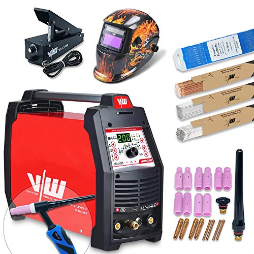 VECTOR Saldatrice Professionale TIG AC DC con 200 Amp – Elettrodi Saldatrice IGBT – Combi TIG Saldatrice – Elettrodo – Puls