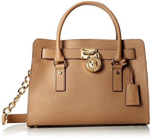 """MICHAEL Michael Kors Bag Saffiano Leather Gold-tone hardware; signature charm Double handles with 5"""" drop; shoulder strap with 11"""" drop Interior features zip pocket, 2 slip pockets and key fob"""