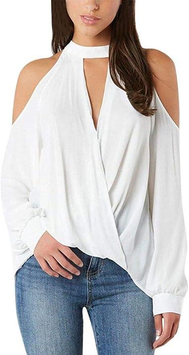 Blusa de Verano Sexy con Hombros Descubiertos y Cuello en V ...