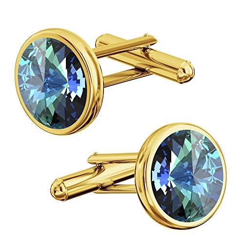 *Beforya Paris* - Elegante Manschettenknöpfe Vergoldet Silber 925 - Viele Farben - Herren mit Swarovski Elements Manschettennadeln Geshenk mit Box PIN/75 (Bermuda Blue)