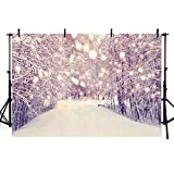 Fantasy Forest Backdrop Glitter Snowflake Bokeh Snow Scene Christmas Party Photography Backgrounds for Photo Studio Size:Vinyl-2.5x1.8m