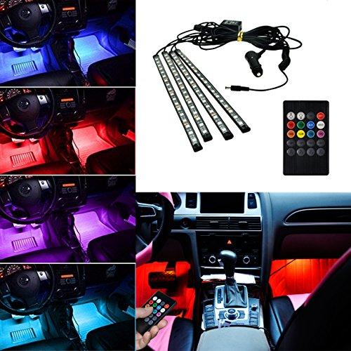 BRTLX Striscia Led Interni per Auto con 4 x 18 LEDs RGB,Suona la Funzione Attivata,Vari Colori Controllo Telecomando Luci abitacolo auto 12V per Decorative Interne