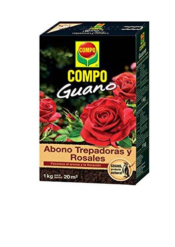 COMPO 1 kg Abono para trepadoras y rosales con guano natural, Favorece el aroma y la floración, Para 20 m², Negro, 2 kg