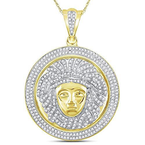 Colgante de oro amarillo de 10 quilates con medallón redondo de diamante Medusa Círculo de 1,00 quilates para hombre