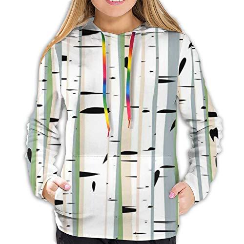 Women's Hoodies Sweatshirts,Trunks of Birches Colorful Dense Forest Design Botanical Spring Season Illustration M
