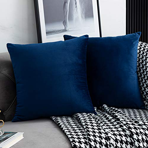 WLNUI Set of 2 Soft Velvet Navy Blue Pillow Covers 20x20 Inch Square Decorative Throw Pillow Covers Cushion Case for Sofa Couch Home Farmhouse Decor