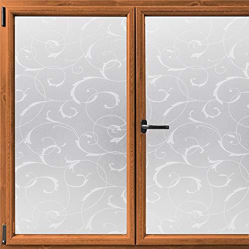 Rabbitgoo Fensterfolie selbsthaftende Sichtschutzfolie blickdichte Milchglasfolie statisch haftend Dekofolie Badfenster Anti-UV privatsphäre fensterfolie 90 x 200cm