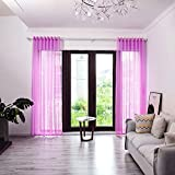 BOYOUTH Cortinas transparentes a cuadros, cortinas de gasa con ojales superiores para dormitorio, sala de estar, hotel, morado claro, 2 paneles, 39 x 106 pulgadas