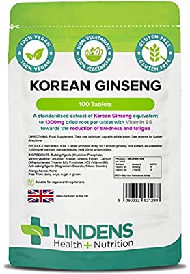 Lindens Korean Ginseng (Panax) 1300mg Tablets - 100 Pack - One-a-Day Tablet, Standardised Extract for Guaranteed Quality - UK Manufacturer, Letterbox Friendly