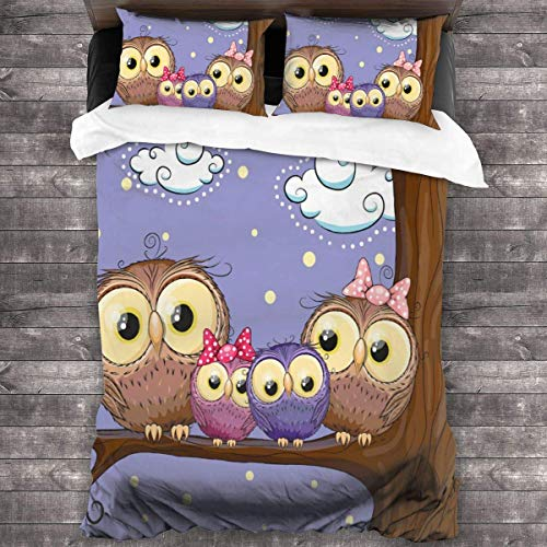 KDRW Cartoon Style Owl Bird Family 3 Pieces Bed Sheet Set Comfortable Premium Bedspread Coverlet Set with Invisible Zipper Antistatic 3-Piece Comforter Sheet Set Breathable Soft Quilt Set 86'' x70