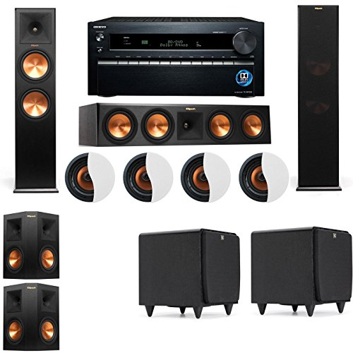 Great Features Of Dolby Atmos 5.2.4 Klipsch RP-280F Tower Speakers SDS12 with Onkyo TX-NR1030