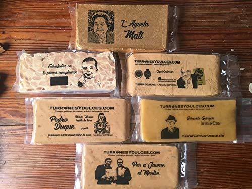Turrón o chocolate PERSONALIZADO con fotos, logos y mensajes. Ideal para fotos familiares, amigos, regalos empresa. Es artesano y con Denominación Origen (Turrón Alicante (Duro))