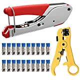 Hiija Coax Cable Crimper Kit Coaxial Cable Rg6 Compression Tool Kit with 20PCS F RG6 RG59 Connectors, Wire Coax Cable Stripper Tool