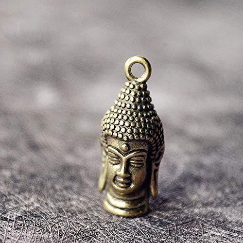 ZTIANEF Statue Mural Sculpture Ornaments Sculptures Mini Retro Brass Rulai Buddha Head Statue Pocket Hand Toy Car Key Pendant Decorative Keychain Sculpture Home Office Ornament
