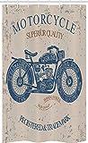 ABAKUHAUS Motorrad Schmaler Duschvorhang, Retro Chopper Reiter, Badezimmer Deko Set aus Stoff mit Haken, 120 x 180 cm, Blaugrau Tan