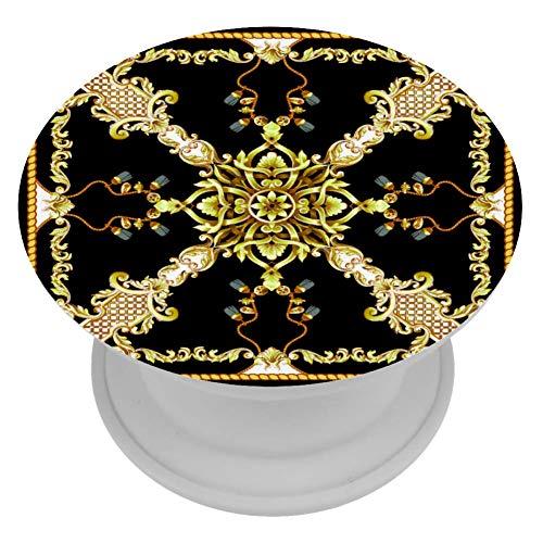 TIZORAX Sjaal Met Gouden Barok Telefoonhouder Inklapbare Grip Stand voor Telefoons en Tabletten handige Stand voor Alle Android-telefoons, Pads en Tabletten met Bijna Alle telefoons/Cases Silica gel