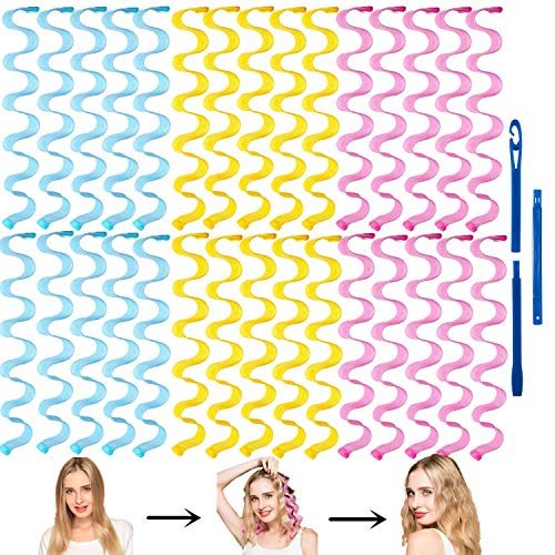 FOYOCER Lockenwickler Keine Hitze Wave Styling Kit 30 Hitzefreie Magische Lockenwickler mit Stylinghaken für kurzes Haar bis zu 50cm/19.68