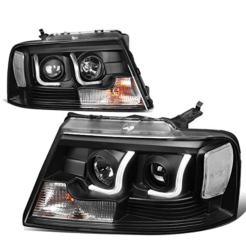 Replacement for 04-08 Ford F150 Lincoln Mark LT Pair Black Clear Corner Dual LED DRL Projector Headlight Headlamps