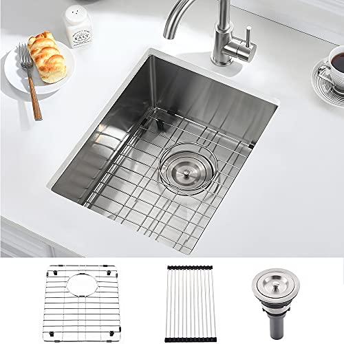 14x18 Bar Sink Undermount-SOMRXO 14 inch Small Bar Prep Sink Rv Outdoor Undermount Stainless Steel Kitchen Sink 16 Gauge Single Bowl Undermount Wet Bar Sink