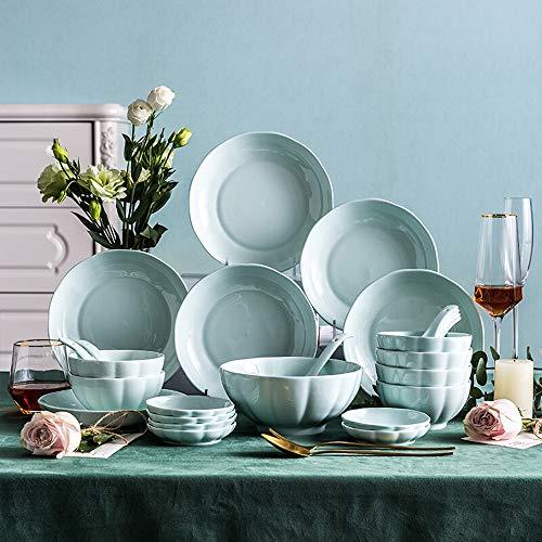 ZDAMN Cereal bowl keramisch kommetje Servies Set Nordic Keramisch Servies eetstokjes Set Plate Lepel Kom Met Bloemblaadje 32 stks Porselein granen kom/soepkom