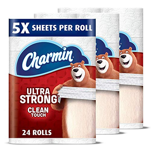 Charmin Ultra Strong Clean Touch Toilet Paper, 24 Family Mega Rolls (Equal to 123 Regular Rolls)