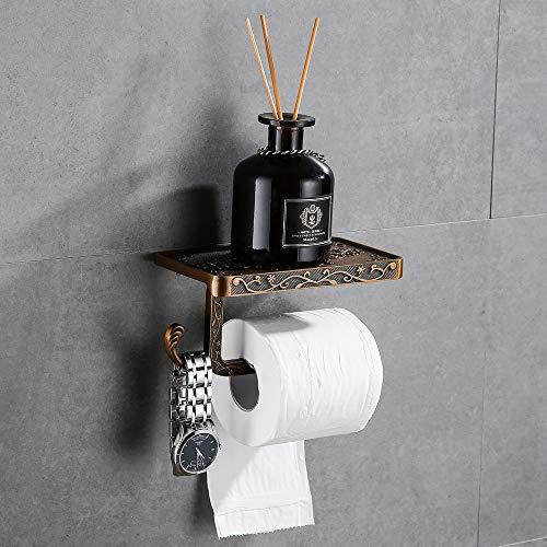 Gricol Portarrollos para Papel Higiénico Porta Rollos con Soporte para Teléfono Celular Toallero de Pared para Baño Estilo Retro Vintage (Dorado)