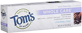 Tom's of Maine Whole Care with Fluoride Natural Toothpaste, Cinnamon-Clove 4.7 oz (Pack of 4)