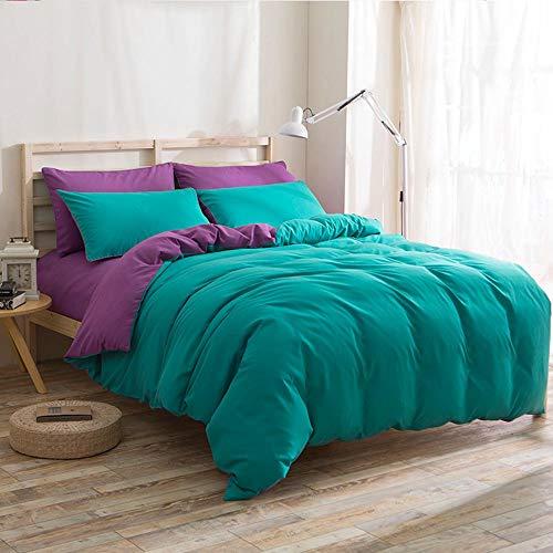 Sommer-Tagesdecke aus Baumwolle, einfarbig, doppelt faltbar, Mikrofaser-Sets für Bettwäsche, Heimdekoration, 4-teilig Stil 2.0m Seegrün Aubergine