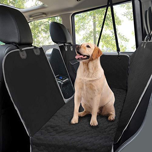 Coprisedile auto per cani,Coprisedile posteriore per cani con finestra di osservazione in rete,Protezione per sedile per animali domestici antiscivolo resistente per auto SUV e camion,145x136 cm-Nero
