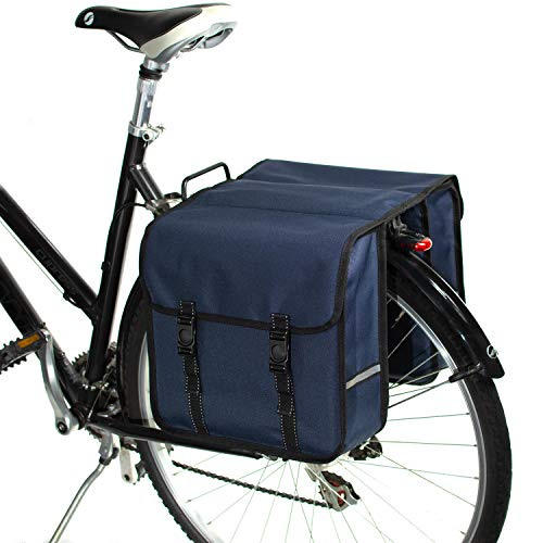 BikyBag Klassisch Doppel Fahrradtasche Gepacktragertasche (Blau)