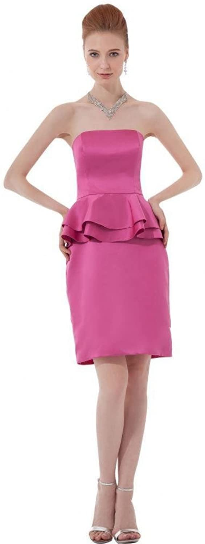 Dearta Women's Sheath Strapless Sleeveless Short Mini Satin Cocktail Dresses
