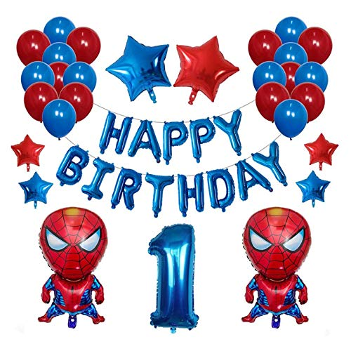 JSJJAES Balloons 42pcs/Set 3D Spiderman Foil Balloon Latex Air Globos Kids Birthday Party Decoration Baby Shower Inflatable Kids Toys (Color : 1)