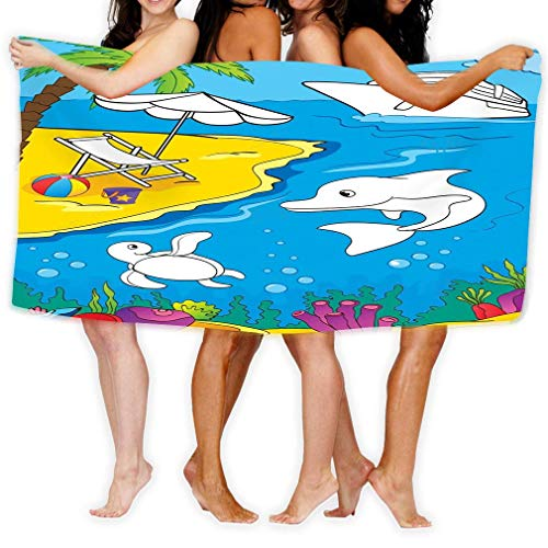 yuhuandadi Adult Soft Microfiber Printed Beach Towel Swimming,Surf,Gym,Spa 80cmx130cm/ 31x51 in Coloring Book Sea Marine Life Coast Page Kids Variegated