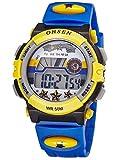 Alienwork Digital Kinderuhr Jungen schwarz Kautschuk-Armband blau Kalender Weiss Chronograph Sportlich