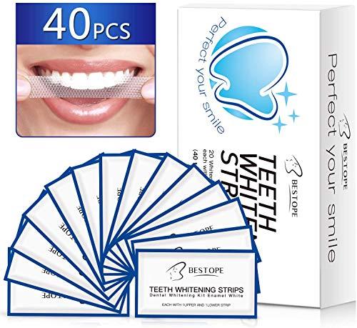 MayBeau White Stripes 40pcs Bleaching Stripes zur Zahnaufhellung, Teeth Whitening Strips Zahnbleaching Strips Zahnauhellung Streifen Zahnpflege Set für Weiße Zähne Weisser Machen Zahnaufheller Zahn