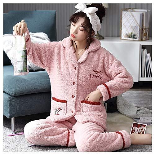 Albornoz Rosa pijamas lindo for mujeres peludas pijamas con bolsillos invierno polar de coral engrosamiento ropa de noche caliente de franela de Servicio de invierno ropa de dormir Traje