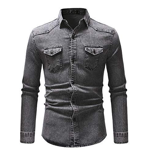 YJNH Herren Cowboy Hemd Revers Langarm Slim-Fit Pleated Work Button Hemd Frühling, Herbst und Winter neu Outdoor Casual Daily Wear Brusttasche Sweatshirt XXL