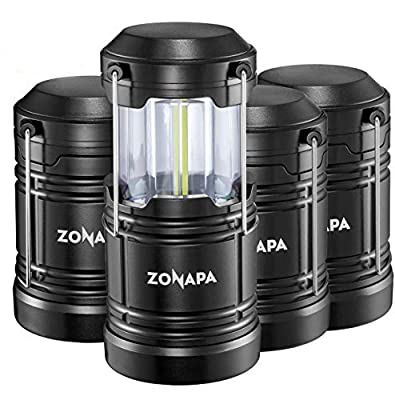 ZONAPA Outdoor LED Camping Lantern w/Magnetic Base (4-Pack) Battery Powered, Portable LED Lantern | Ultra-Bright Camp or Emergency Lighting | Indoor, Outdoor Hanging Hook