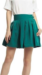 女性の高伸縮性コットンハイウエストAラインフレアスカートソフトストレッチフレアスケーター (Color : Green, Size : M)