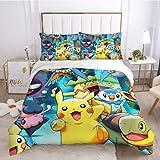 Juego de ropa de cama de microfibra suave 3 piezas juego de cama 1 funda de edredón 2 fundas de almohada Pokémon juego de cama