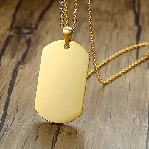 Collares Colgante Joyas Collar De Acero Inoxidable para Hombre con Colgante De Etiqueta De Perro con Espejo-Gold_50Cm