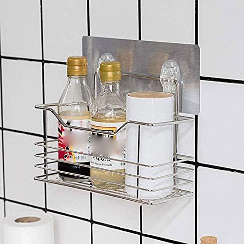 RJJ Estante de baño, organizador de ducha, organizador de ducha, estante de cocina, adhesivo sin rastro, cesta de acero inoxidable, 1 paquete