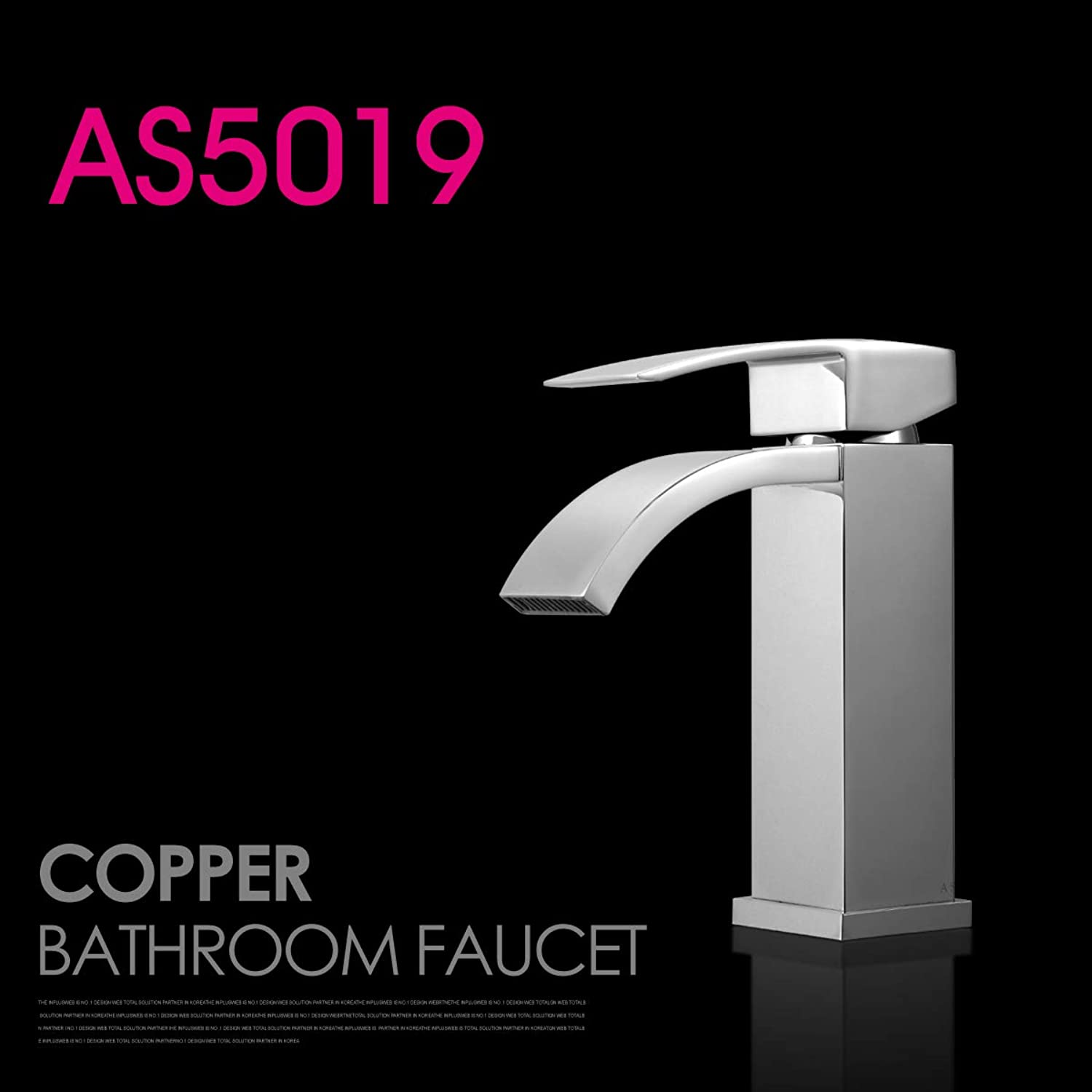 LHbox Basin Mixer Tap Bathroom Sink Faucet The copper basin and cold water bathroom square plus high basin surface basin basin waterfall faucet,AS5019