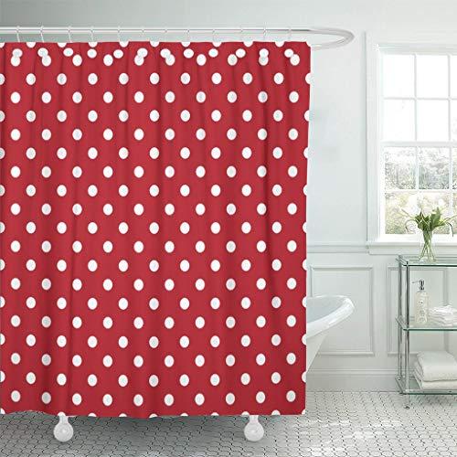 JOOCAR Design Duschvorhang, gelbe Poka-Punkte, weiß & rot gepunktet, schwarz, wasserdichter Stoff, Badezimmer-Dekor-Set mit Haken