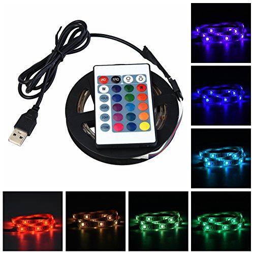 Luces de Tira de LED - Tira de LED DC 5V USB - Kits de Luces de TV 5050 - Impermeable RGB - Luz de Fondo de TV Led Flexible - Con Control Remoto - Para Luz de Fondo de TV(1M 30LED)