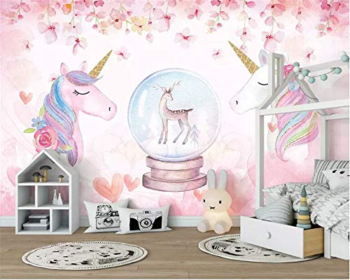3D behang waterverf aquarel Unicorn Art Mural Life Bedroom Hallway kinderkamer achtergrond foto behang gordijn (H)300*(W)210cm Een