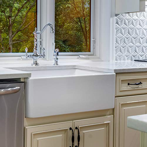 Fine Fixtures Sutton Fireclay Sink, 30' Apron Front Farmhouse Kitchen Sink.