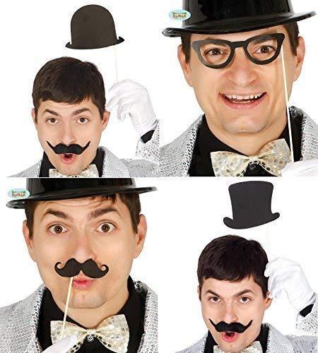 Fancy Me pour Hommes Femmes Set of 8 Années 1920 Chapeau Haut-De-Forme Chapeau Melon Lunettes Moustache Mariage Type Photomaton Photomaton Accessoires Costume Déguisement Accessoires